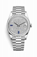 Rolex Day-Date 40 Platinum 228396TBR Paved diamonds sapphires Dial Watch Replica