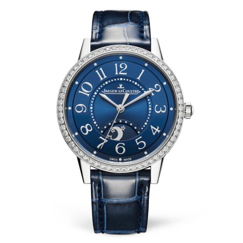 fake Jaeger-LeCoultre 3448480 Rendez-Vous Night & Day Medium Stainless Steel / Blue / Alligator